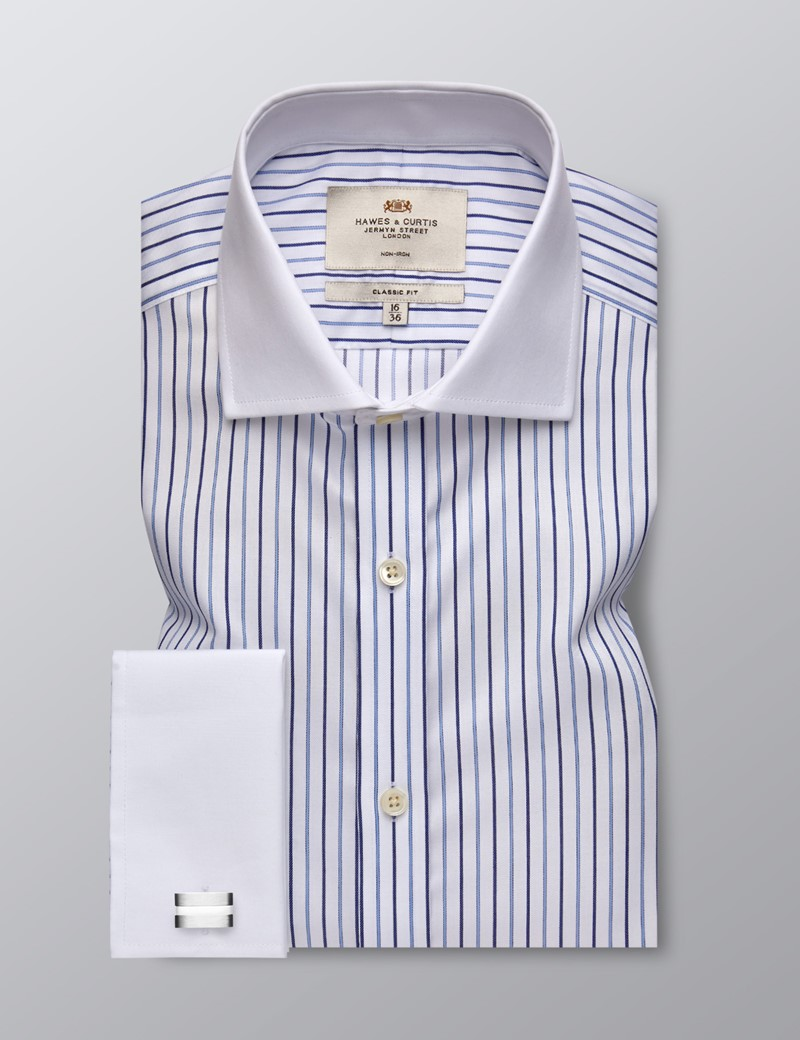 Men's Formal Blue & Navy Multi Stripe Classic Fit Shirt - Double Cuff - Windsor Collar - Non Iron