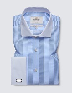 Non Iron Blue & White Bengal Stripe Classic Fit Shirt - Windsor Collar - Double Cuffs