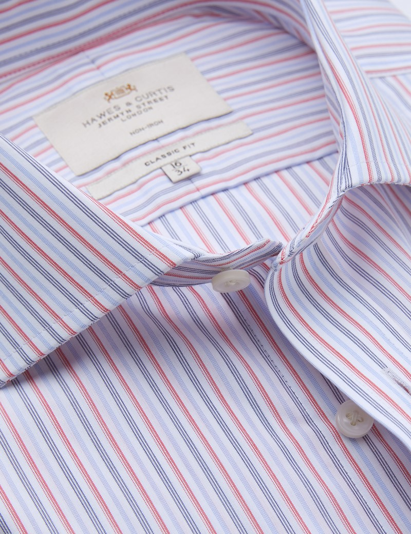 Non Iron Red & Navy Multi Stripe Classic Fit Shirt - Windsor Collar - Double Cuffs