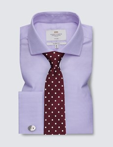 Non Iron Lilac & White Dobby Classic Fit Shirt - Windsor Collar - Double Cuffs