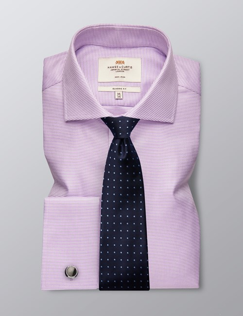 Men's Formal Lilac & White Dogstooth Check Classic Fit Shirt - Double Cuff - Windsor Collar - Non Iron