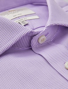 Men's Dress Lilac & White Dogstooth Plaid Classic Fit Shirt - French Cuff - Windsor Collar - Non Iron