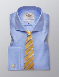 Men's Formal Blue & White Dobby Twill Classic Fit Shirt - Double Cuff - Windsor Collar - Non Iron