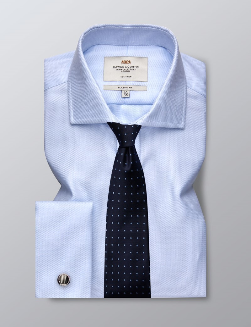 Men's Business Light Blue & White Dobby Classic Fit Shirt - Double Cuff - Windsor Collar - Non Iron