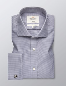 Men's Business Grey Dogstooth Check Classic Fit Shirt - Double Cuff - Windsor Collar - Non Iron