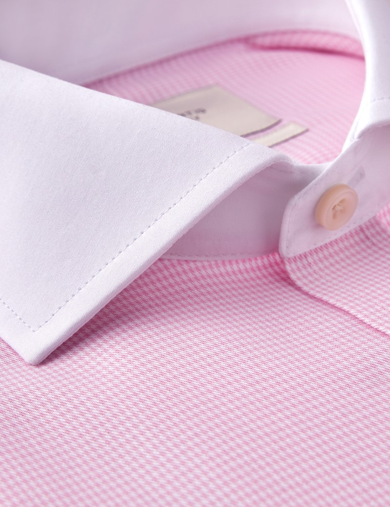 Men's Formal Pink Dogstooth Check Classic Fit Shirt - Double Cuff - Windsor Collar - Non Iron