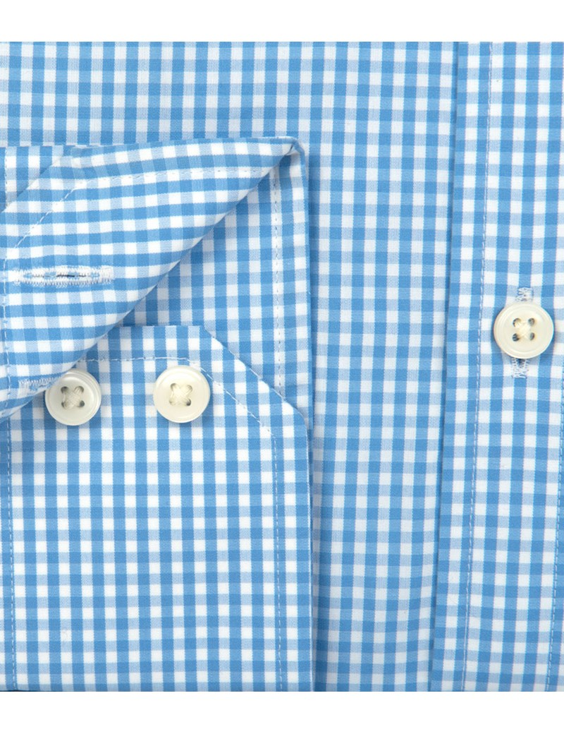 Men's Formal White & Blue Gingham Check Classic Fit Shirt - Single Cuff - Easy Iron