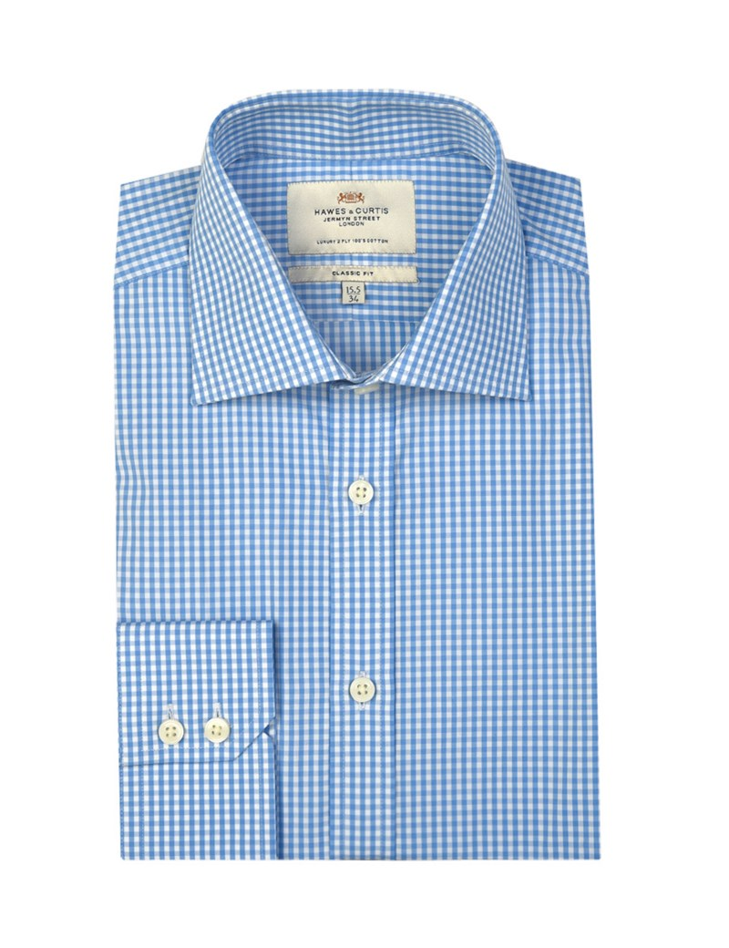 Business Hemd – Classic Fit – Kent Kragen – Gingham Karo blau