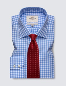 Bügelfreies Businesshemd – Classic Fit – Kentkragen – hellblau-weiß Gingham Karo