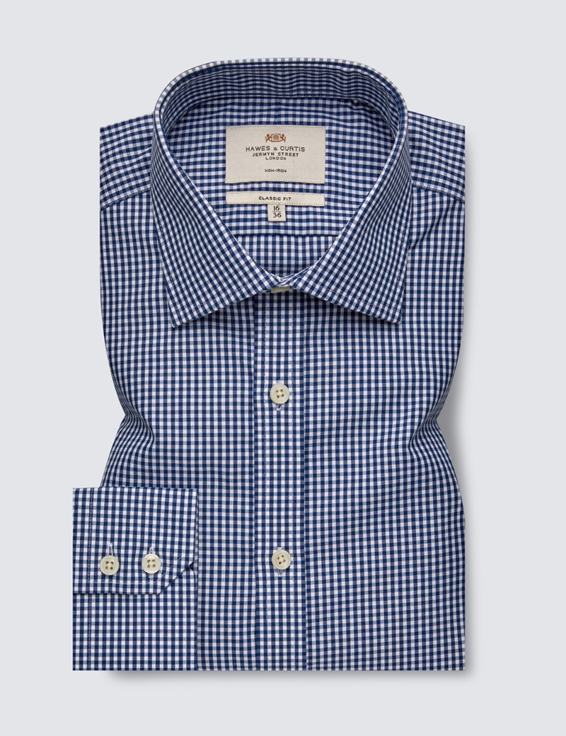 Men's Business Navy & White Gingham Check Classic Fit Shirt - Single Cuff - Non Iron