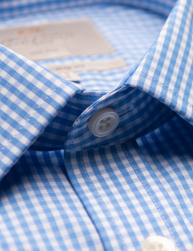 Bügelfreies Businesshemd - Classic Fit - Kentkragen - blau weiß Gingham Karo