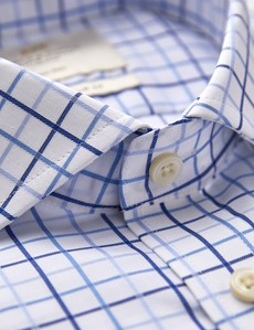 Men's Formal Blue and White Multi Check Classic Fit Shirt - Single Cuff - Non Iron