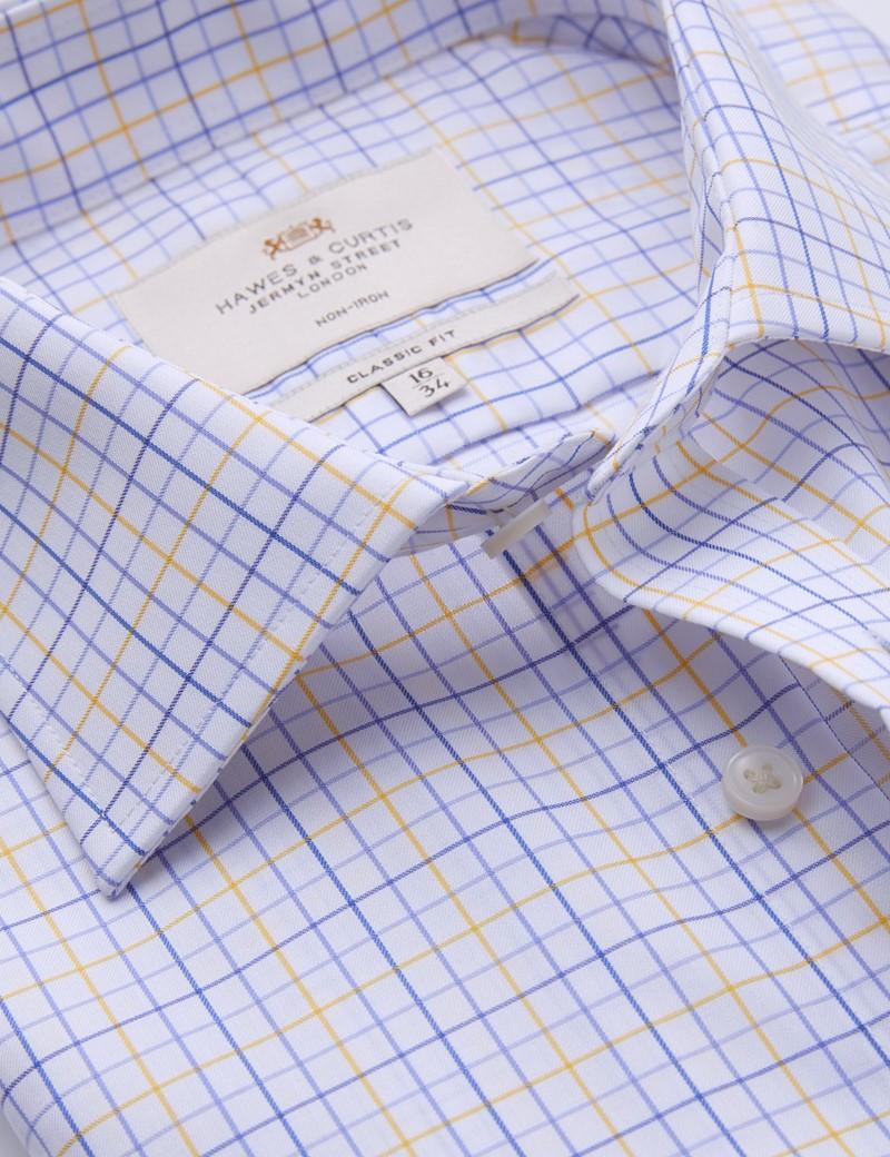 Non Iron Blue & Yellow Multi Check Classic Fit Shirt with Single Cuff - Non Iron