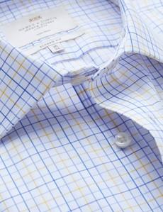 Non Iron Blue & Yellow Multi Check Classic Fit Shirt