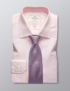 Men's Pink Classic Fit Dress Shirt - Single Cuff - Easy Iron