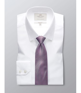 Men's  White Poplin Classic Fit Business Shirt - Single Cuff - Easy Iron