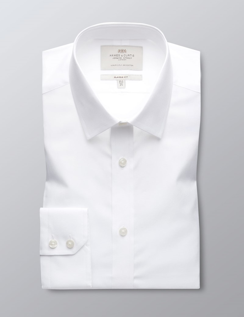 Men's Formal White Poplin Classic Fit Shirt - Single Cuff - Easy Iron