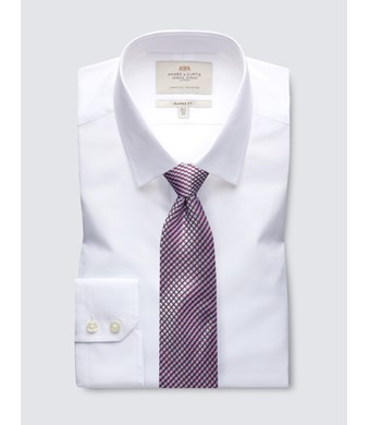 Men's  White Poplin Classic Fit Business Shirt - Single Cuff - Easy Iron