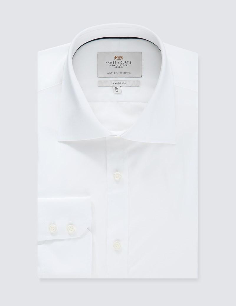 Men's White Poplin Classic Fit Dress Shirt With Navy Trim - Single Cuff - Easy Iron
