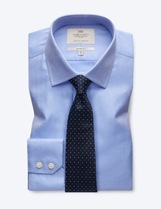 Men's Business Blue Herringbone Classic Fit Shirt - Single Cuff - Easy iron