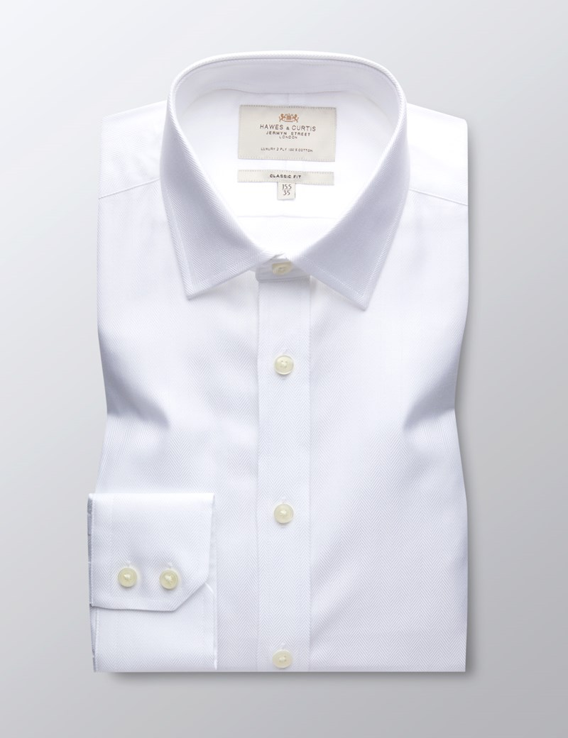Men's Business White Herringbone Classic Fit Shirt with Single Cuff - Easy Iron