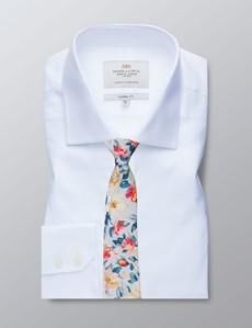 Men's Business White Herringbone Classic Fit Shirt - Single Cuff - Easy iron