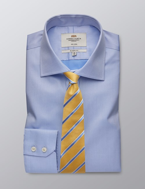 Men's Formal Blue Twill Classic Fit Non Iron Shirt - Single Cuff