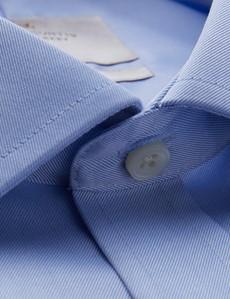 Men's Formal Blue Twill Classic Fit Non Iron Shirt - Single Cuff