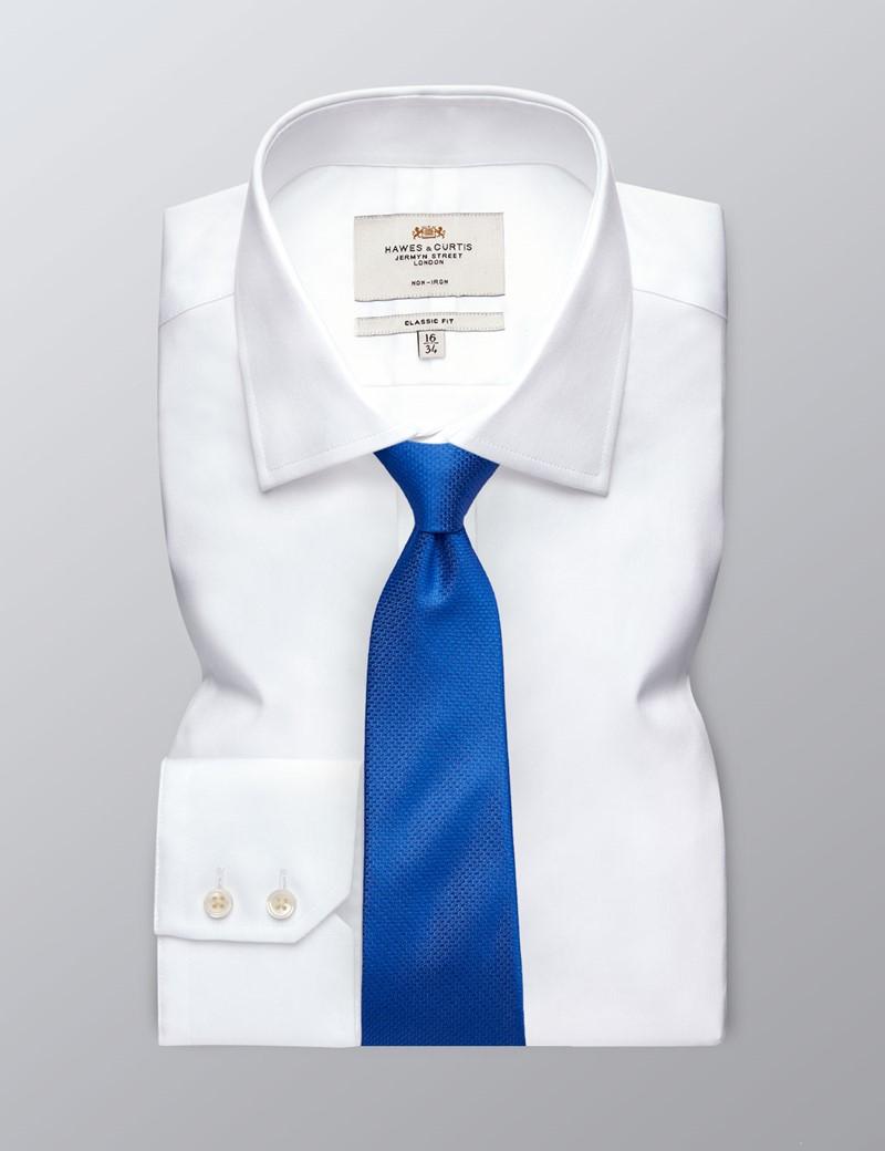 Men's Business White Fine Twill Classic Fit Shirt - Single Cuff - Non Iron