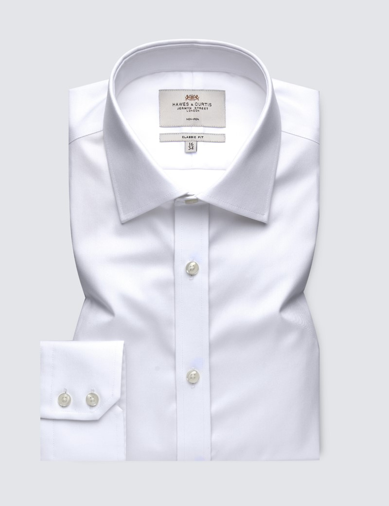 Men's Formal White Fine Twill Classic Fit Shirt - Single Cuff - Non Iron