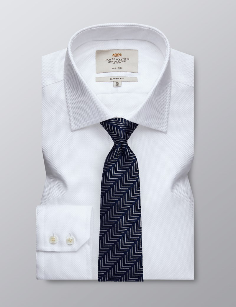 Men's Dress White Fabric Interest Classic Fit Non Iron Shirt - Single Cuff