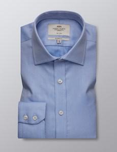 Men's Dress Blue Fabric Interest Classic Fit Shirt - Single Cuff - Non Iron