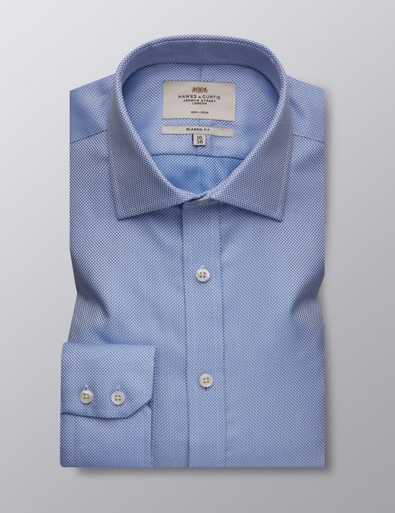 Men's Business Blue Fabric Interest Classic Fit Shirt - Single Cuff - Non Iron