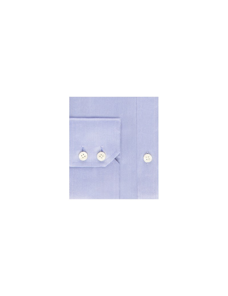Men's Blue Pique Classic Fit Shirt - Single Cuff - Easy Iron