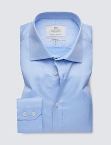 Easy Iron Blue Pique Classic Fit Shirt