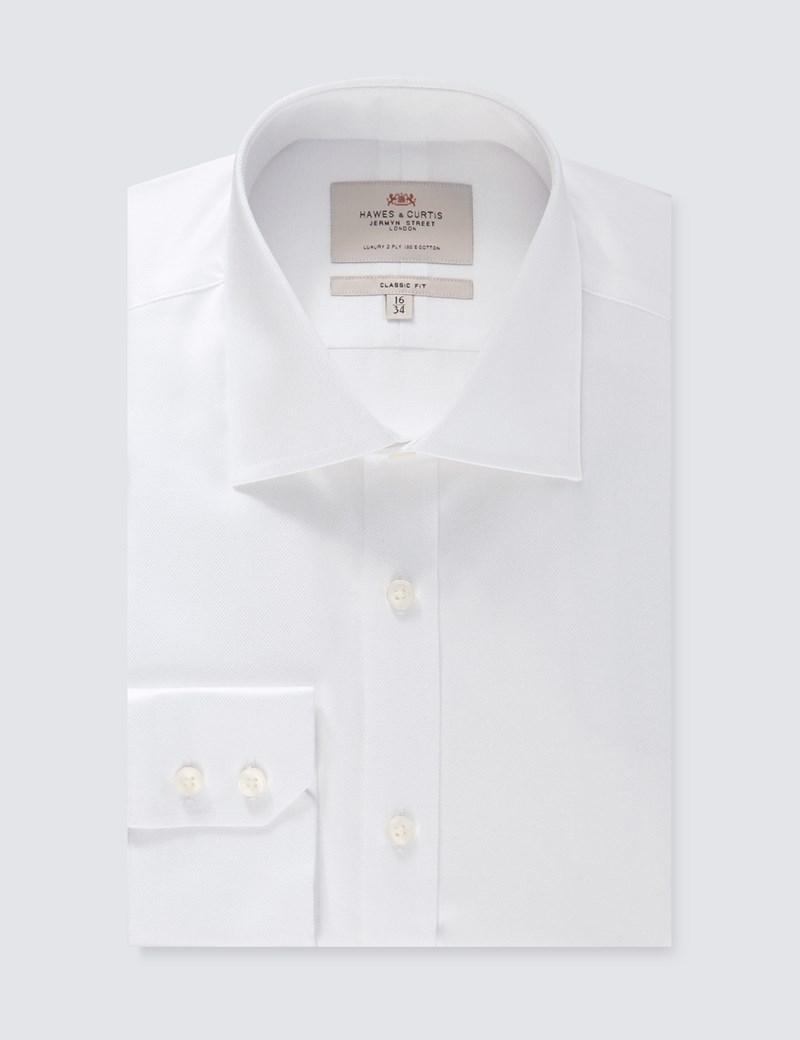 Men's Dress White Pique Classic Fit Shirt - Single Cuff - Easy Iron