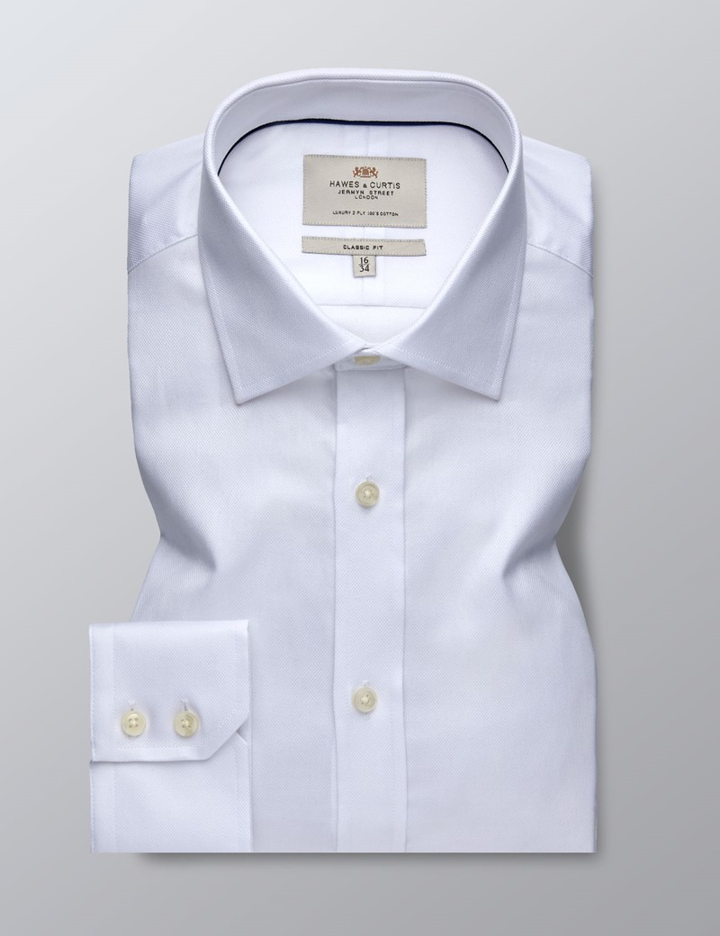 Men's Dress White Pique Classic Fit Shirt - Single Cuff - Easy Iron