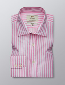 Men's Dress Pink & White Striped Classic Fit Shirt - Single Cuff - Easy Iron