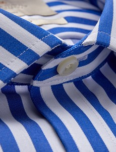 Men's Business Royal & White Large Bengal Stripe Classic Fit Shirt - Single Cuff - Non Iron