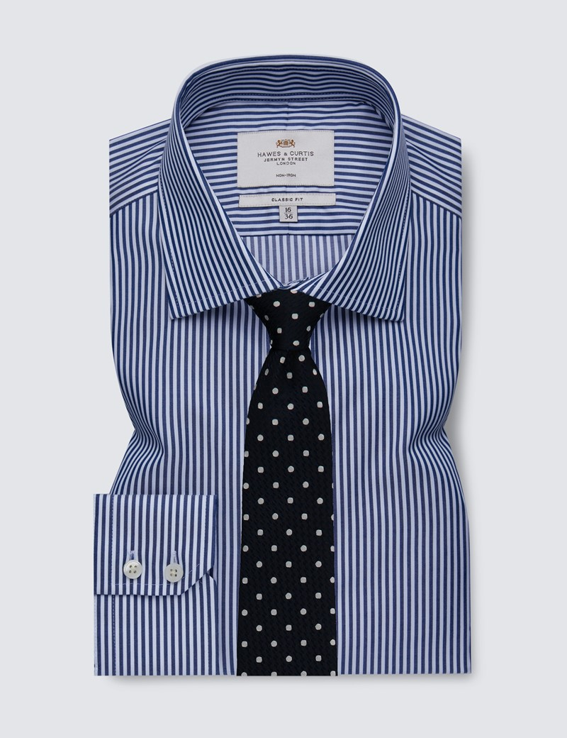Men's Business Navy & White Bengal Stripe Classic Fit Shirt - Single Cuff - Non Iron