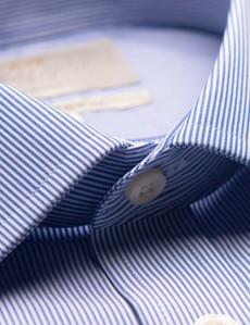 Non Iron Blue & White Fine Stripe Classic Fit Shirt - Semi Cutaway Collar