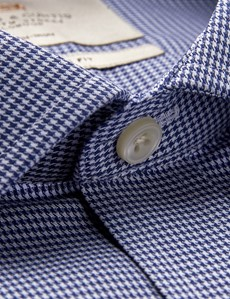 Men's Business Navy & White Dogstooth Classic Fit Shirt - Single Cuff - Non Iron