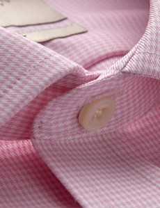 Men's Dress Pink & White Dogstooth Classic Fit Shirt - Single Cuff - Non Iron