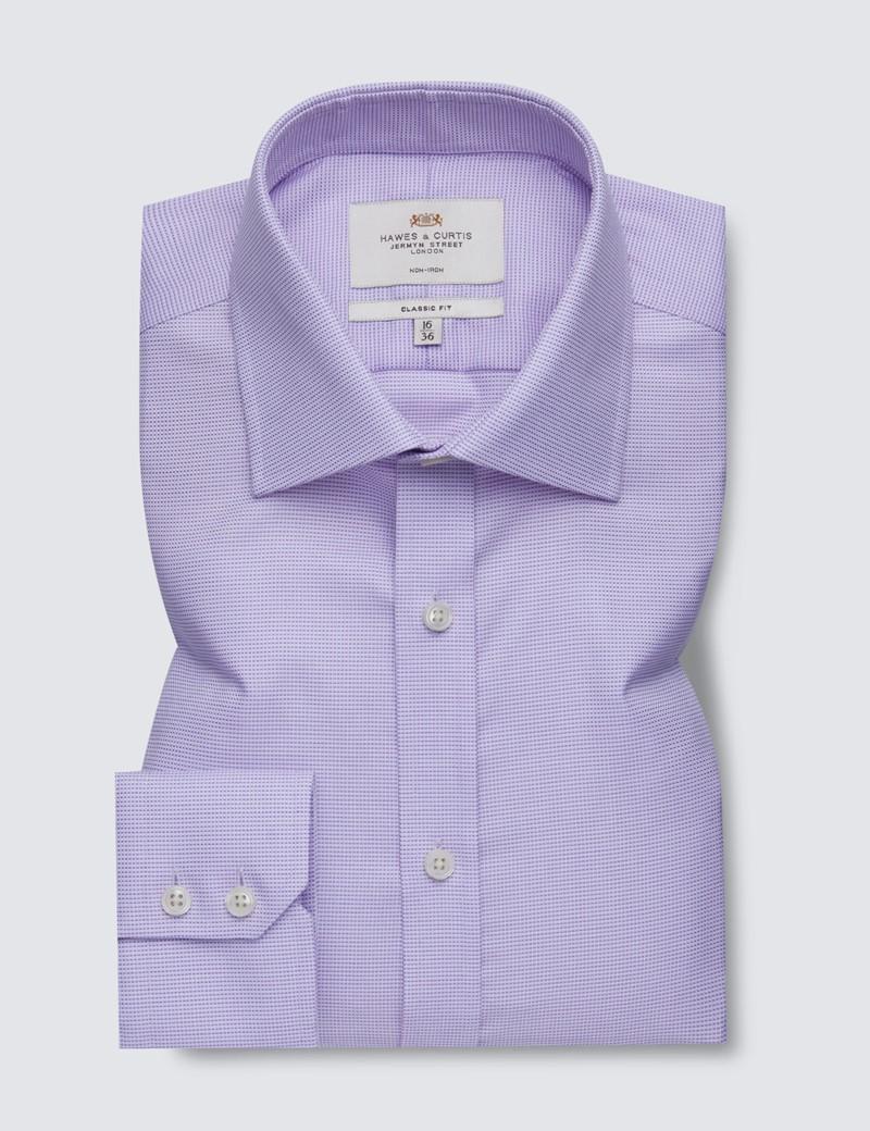 Non Iron Lilac Fabric Interest Classic Fit Shirt - Semi Cutaway Collar