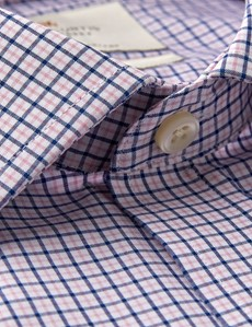 Men's Formal Navy & Pink Multi Check Classic Fit Shirt - Double Cuff - Easy Iron