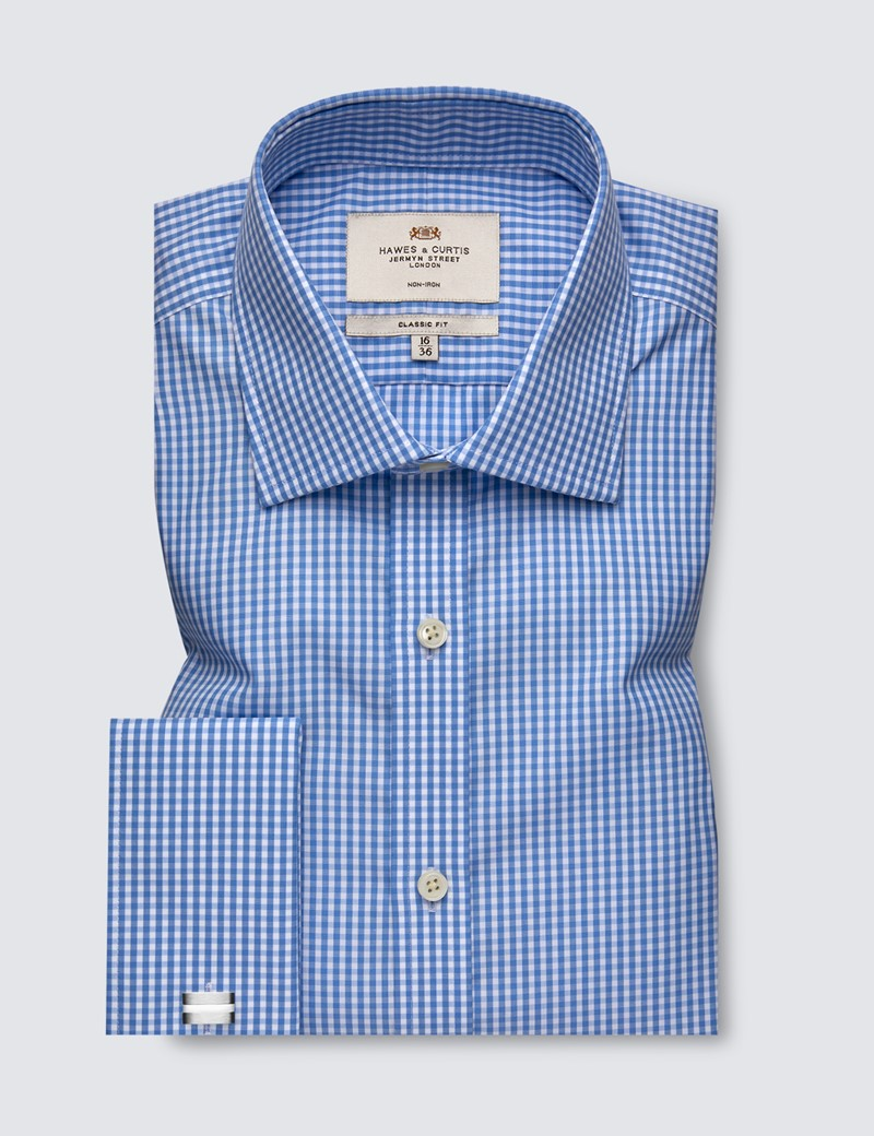 Men's Business Blue & White Gingham Check Classic Fit Shirt - Double Cuff - Non Iron