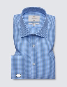 Men's Dress Blue & White Gingham Plaid Classic Fit Shirt - French Cuff - Non Iron