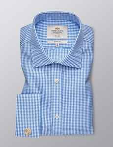 Men's Formal Blue & White Gingham Check Classic Fit Shirt - Double Cuff - Non Iron