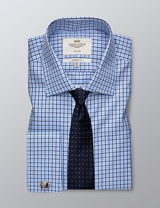 Men's Dress Blue & Navy Multi Plaid Classic Fit Shirt - French Cuff - Non Iron