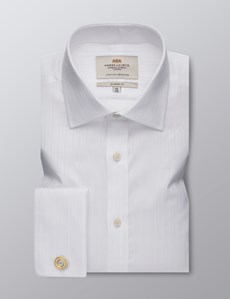 Men's Dress White Classic Fit Shirt - French Cuff - Easy Iron